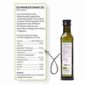 Schwarzkümmelöl ägyptisch nativ Angaben zu Inhaltsstoffen