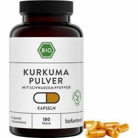 Bio Kurkuma Kapsen mit schwarzem Pfeffer Piperin, 180 vegane Kapseln von bioKontor, 133g