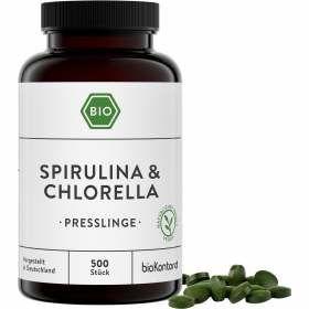 Bio Spirulina und Chlorella Presslinge, 180 vegane Kapseln von bioKontor