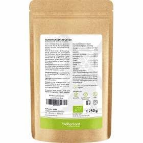 Bio Ashwagandhapulver 250 g incl. Nährstoffangaben und Verzehrempfehlung
