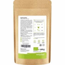 Bio Matcha Pulver 100 g, Japanischer Matchatee aus kontrolliert biologischem Anbau - perfekt für Matcha-Latte, Verzehrempfehlung