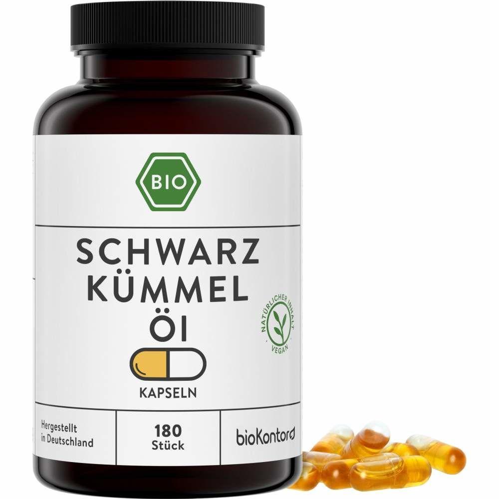 Bio Schwarzkümmelölkapseln, 180 vegane Kapseln mit kaltgepresstem Schwarzkümmelöl