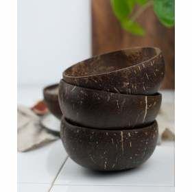 3 Kokosnusschalen mit Logo von bioKontor