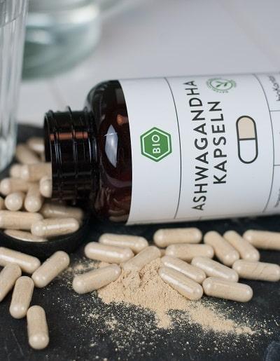 Bio Ashwagandhapulver Kapseln, 180 vegane Kapseln mit Ashwagandhapulver aus kontrolliert biologischem Anbau von bioKontor