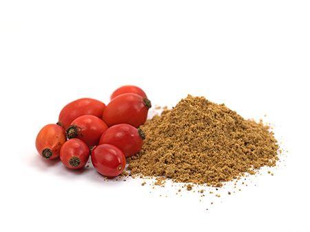 Ganze Hagebutten mit fein vermahlenem bio Hagebuttenpulver aus kontrolliert biologischem Anbau von bioKontor