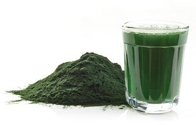 Feines bio Spirulina Pulver von bioKontor aufgelöst in Wasser