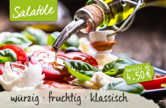 Kaltgepresstes Salatöl auf Salat
